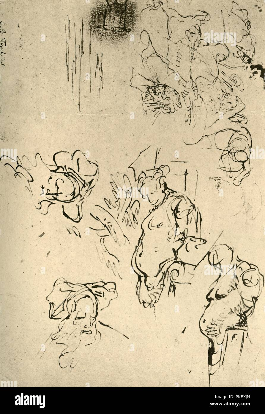 'Satyr Herms and Oriental Heads', mid 18th century, (1928). Pen on paper. At one time known to have been in the University Collection, Würzburg, Germany. Italian Venetian painter and printmaker Giovanni Battista Tiepolo (1696-1770), worked not only in Italy, but also in Germany and Spain. He was commissioned to carry out frescoes in churches and palaces, and was elected President of the Academy of Padua. As well as his large-scale majestic works, he also produced etchings and oil paintings, and is widely regarded as one of the most important artists of the period. Illustration from The Dr - Stock Image