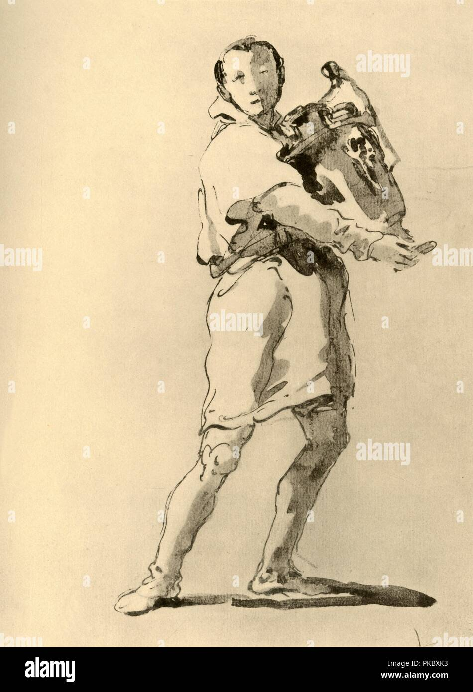 'Youth with Amphora', mid 18th century, (1928). 'Youth bearing an amphora', pen with wash on paper. At one time known to have been in the collection of Vicomte B d'Hendecourt, London. Italian Venetian painter and printmaker Giovanni Battista Tiepolo (1696-1770), worked not only in Italy, but also in Germany and Spain. He was commissioned to carry out frescoes in churches and palaces, and was elected President of the Academy of Padua. As well as his large-scale majestic works, he also produced etchings and oil paintings, and is widely regarded as one of the most important artists of the period. - Stock Image
