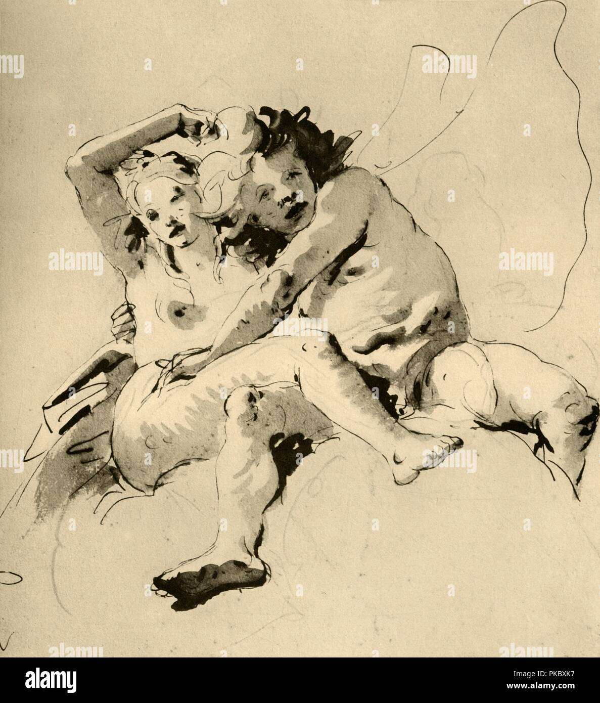 'Zephyr and Flora', (1928). Pen with wash on white paper. At one time known to have been in the collection of the late Professor W Bateson, London. Italian Venetian painter and printmaker Giovanni Battista Tiepolo (1696-1770), worked not only in Italy, but also in Germany and Spain. He was commissioned to carry out frescoes in churches and palaces, and was elected President of the Academy of Padua. As well as his large-scale majestic works, he also produced etchings and oil paintings, and is widely regarded as one of the most important artists of the period. Illustration from The Drawings of G - Stock Image