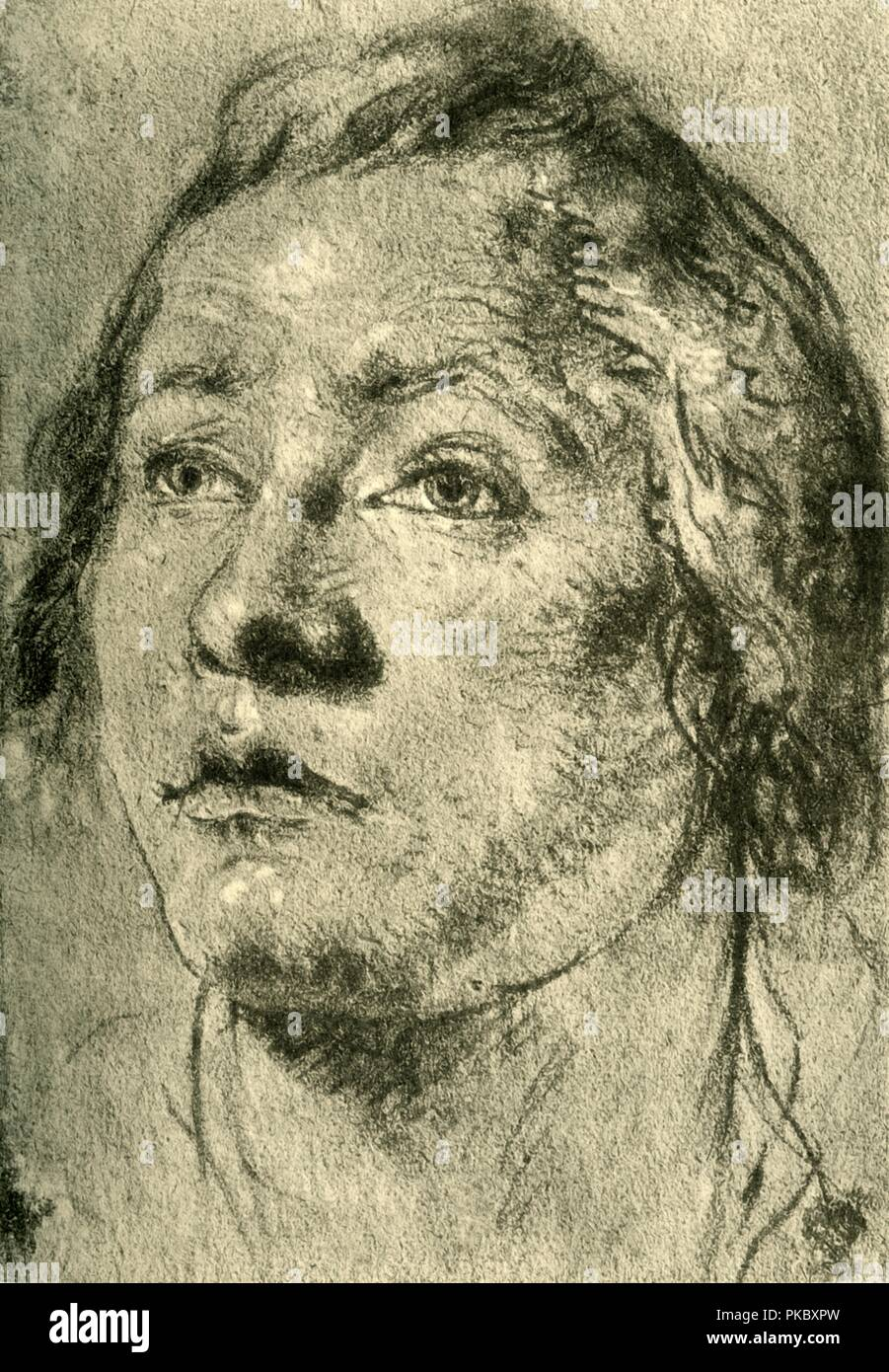 'Head of a Young Man', mid 18th century, (1928). Chalk on paper. At one time known to have been in the collection of the Staatliche Sammlungen, Weimar, Germany. Italian Venetian painter and printmaker Giovanni Battista Tiepolo (1696-1770), worked not only in Italy, but also in Germany and Spain. He was commissioned to carry out frescoes in churches and palaces, and was elected President of the Academy of Padua. As well as his large-scale majestic works, he also produced etchings and oil paintings, and is widely regarded as one of the most important artists of the period. Illustration from The  - Stock Image