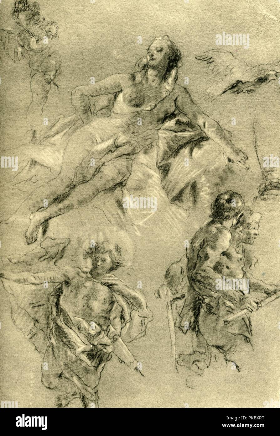 'Venus resting and other figures', c1762-c1766, (1928). Chalk on paper. Study for the  ceiling fresco in the Salle de Gardes of the Royal Palace in Madrid, Spain. At one time known to have been in the collection of the Kupferstichkabinett, Dresden, Germany. Italian Venetian painter and printmaker Giovanni Battista Tiepolo (1696-1770), worked not only in Italy, but also in Germany and Spain. He was commissioned to carry out frescoes in churches and palaces, and was elected President of the Academy of Padua. As well as his large-scale majestic works, he also produced etchings and oil paintings,  - Stock Image