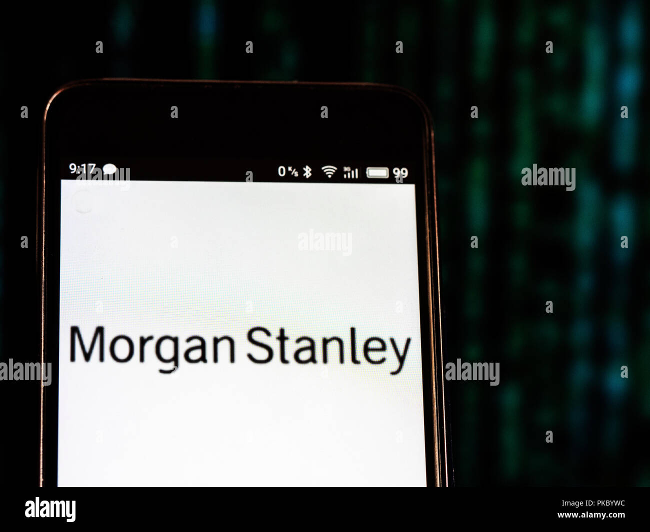 Morgan Stanley logo seen displayed on smart phone Stock Photo
