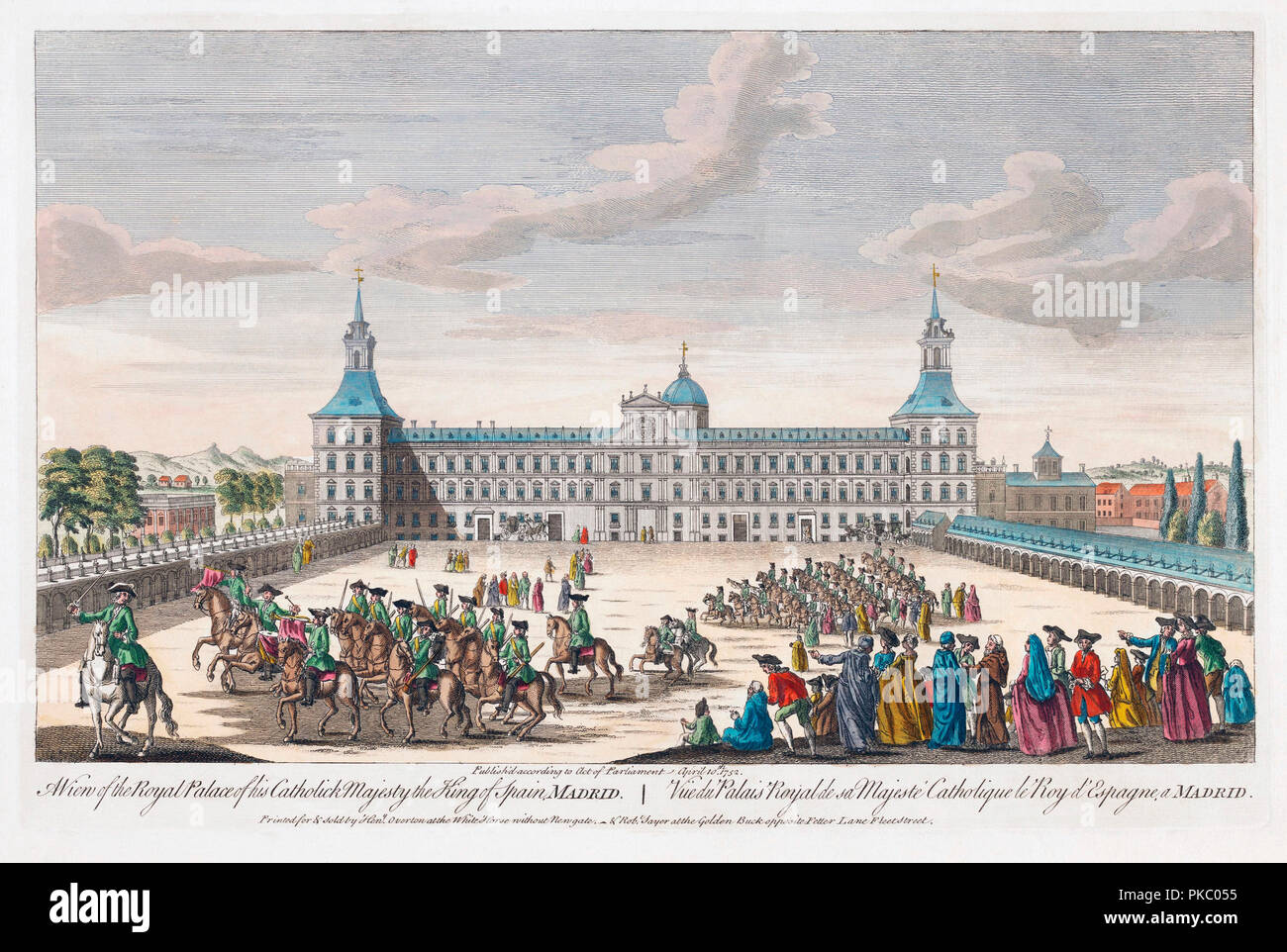 A view of the royal palace of his Catholic Majesty the King of Spain, Madrid.  Hand coloured engraving dated 1752. - Stock Image