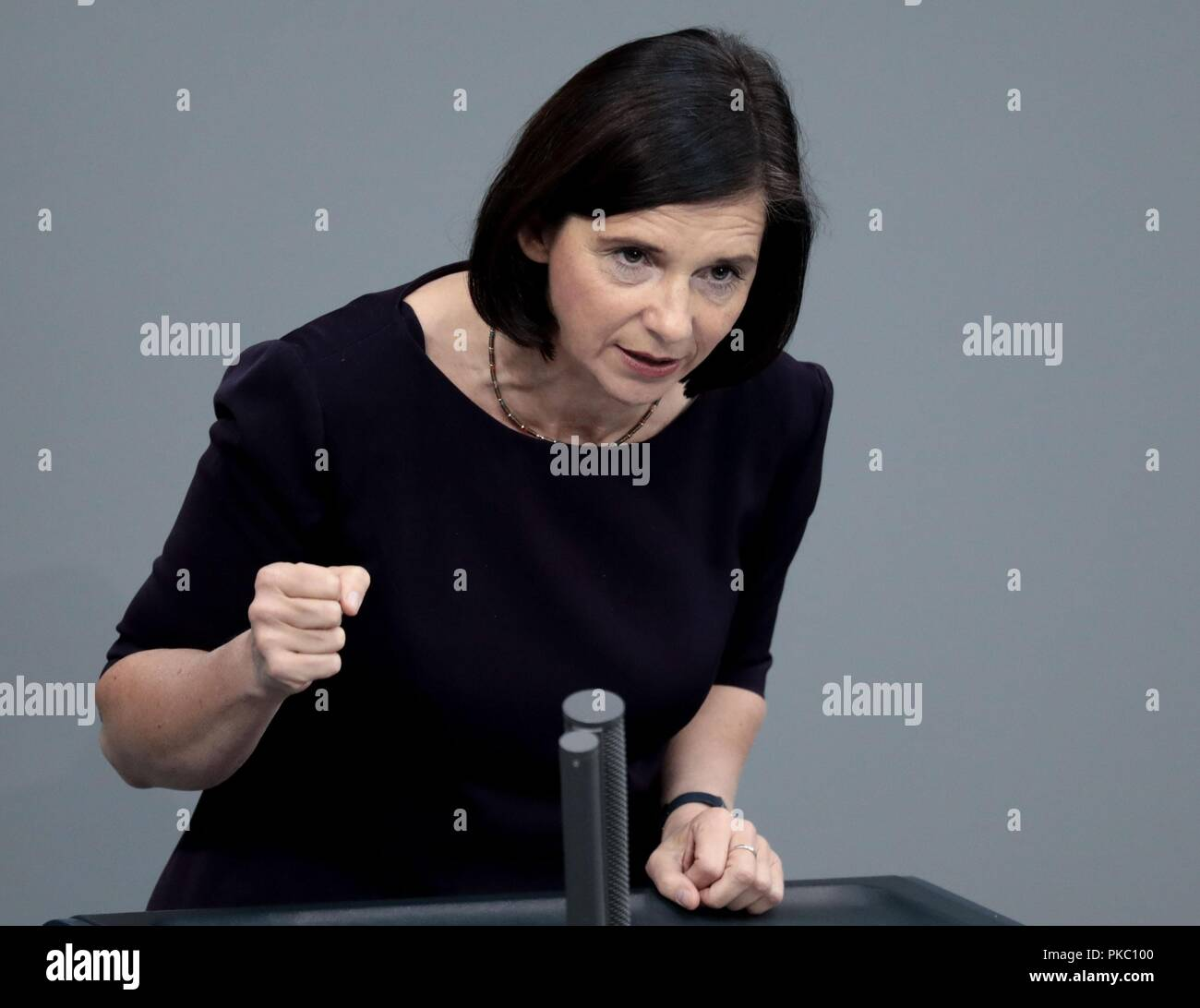 Berlin, Germany. 12th Sep, 2018. Katrin Göring-Eckardt, parliamentary group chairman of Alliance 90/The Greens, speaks at the general debate in the German Bundestag. The main topic of the 48th session of the 19th legislative period is the draft of the Federal Budget 2019 submitted by the Federal Government and the Federal Finance Plan 2018 to 2022 with the general debate on the budget of the Federal Chancellery. Credit: dpa picture alliance/Alamy Live News - Stock Image