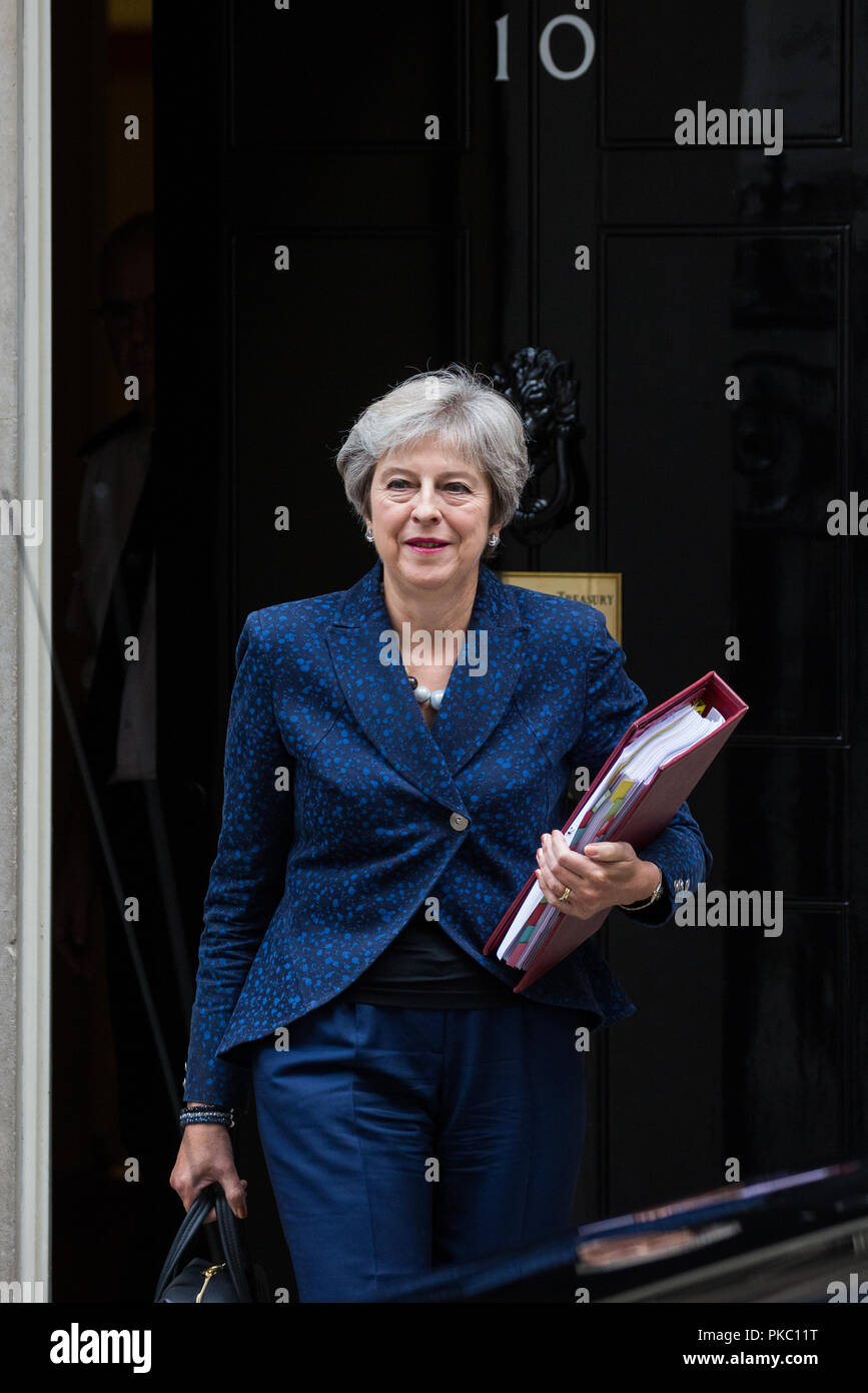 London, UK. 12th Sep, 2018. Prime Minister Theresa May leaves 10 Downing Street to attend Prime Minister's Questions in the House of Commons. Credit: Mark Kerrison/Alamy Live News Stock Photo