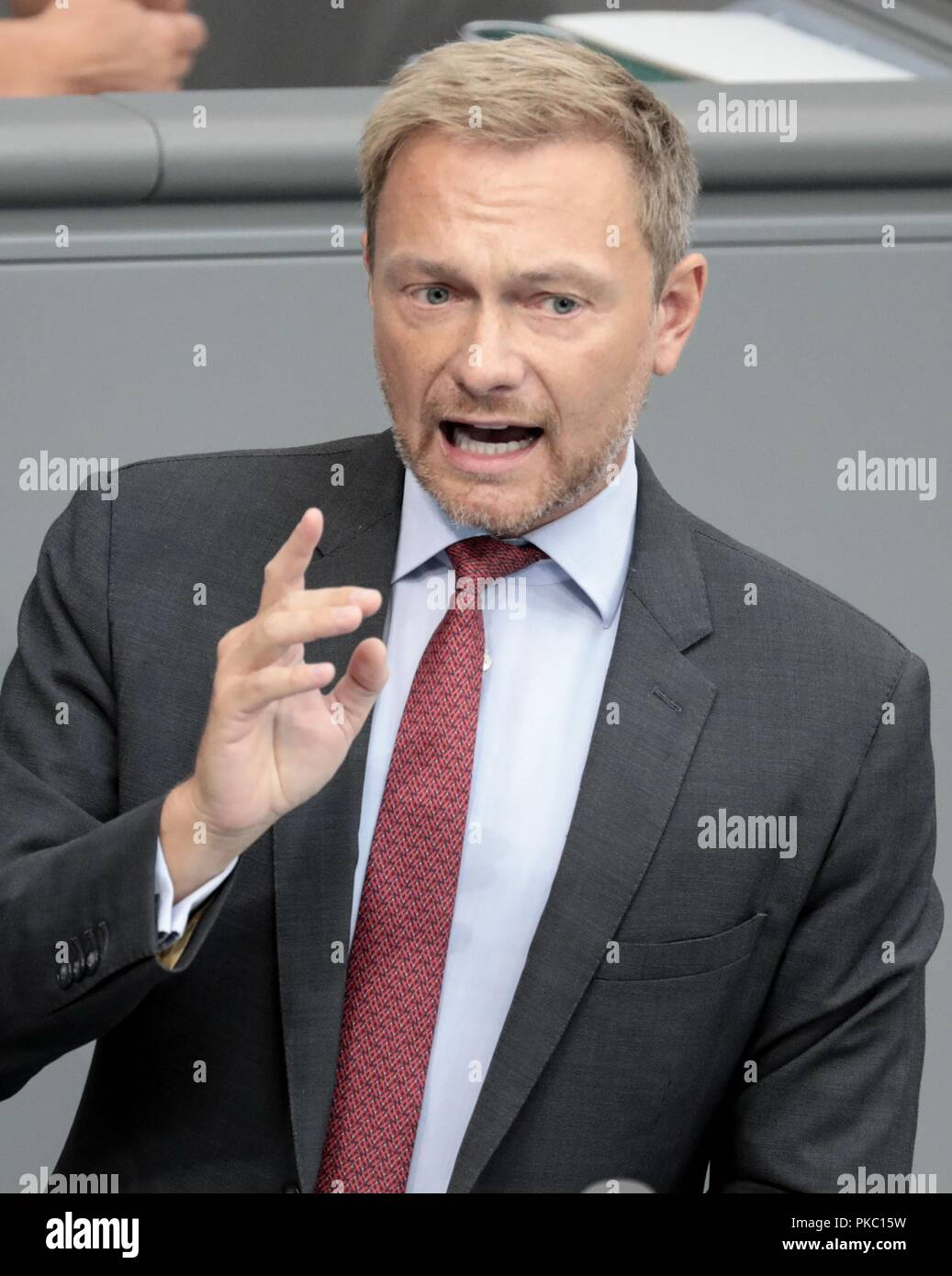 Berlin, Germany. 12th Sep, 2018. Christian Lindner, faction leader and party leader of the Free Democratic Party FDP, speaks at the general debate in the German Bundestag. The main topic of the 48th session of the 19th legislative period is the draft of the Federal Budget 2019 submitted by the Federal Government and the Federal Finance Plan 2018 to 2022 with the general debate on the budget of the Federal Chancellery. Credit: dpa picture alliance/Alamy Live News - Stock Image