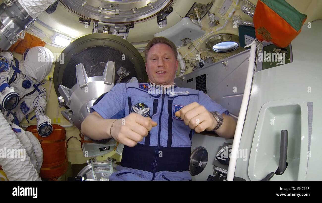 Russia. 10th Sep, 2018. September 10, 2018. - Russian cosmonaut Sergey Prokopiev posted a video on VKontakte social media where he revealed the small sealed hole in the wall of a Russian-made Soyuz space capsule docked onto the International Space Station (ISS). The hole covered with dark sealant is hidden under a padded flap. Sergey Prokopiev described how the astronauts discovered a 2mm hole where air was going out and covered it with three layers of sealant. Cosmonaut also said that the module is now completely hermetically sealed. On August 30 a drop in air pressure was registered o - Stock Image