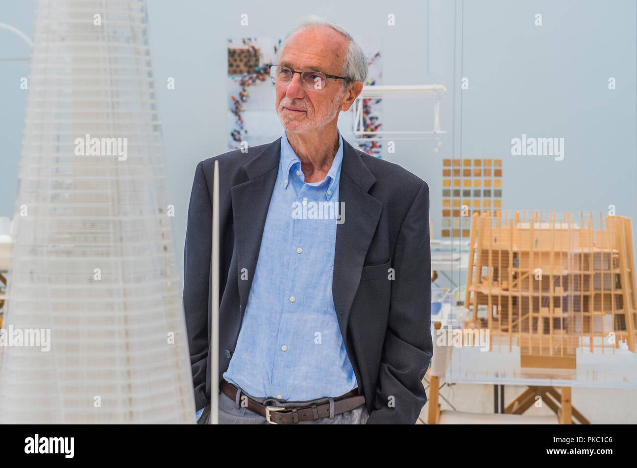 London, UK. 12th Sep, 2018. Renzo Piano with models for the Shard - Renzo Piano: The Art of Making Buildings in the Gabrielle Jungels-Winkler Galleries of the Royal Academy of Arts. Piano is an architect and Honorary Royal Academicianand this is the first comprehensive survey of hiss career to be held in London since 1989 - forming part of the 250th anniversary of the Royal Academy. Credit: Guy Bell/Alamy Live News - Stock Image