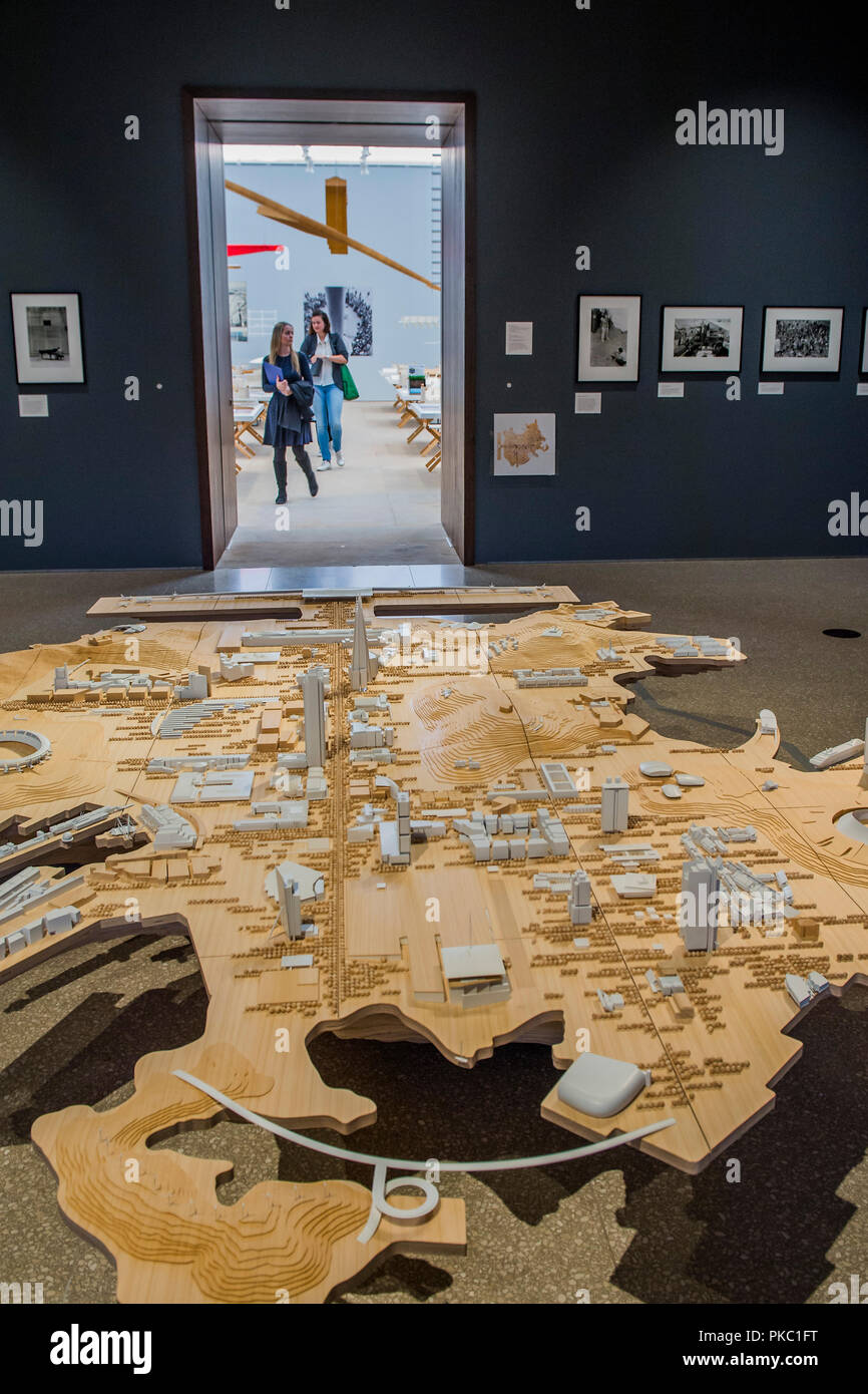 London, UK. 12th Sep, 2018. A model showing all his major works in one imaginary city - Renzo Piano: The Art of Making Buildings in the Gabrielle Jungels-Winkler Galleries of the Royal Academy of Arts. Piano is an architect and Honorary Royal Academicianand this is the first comprehensive survey of hiss career to be held in London since 1989 - forming part of the 250th anniversary of the Royal Academy. Credit: Guy Bell/Alamy Live News - Stock Image