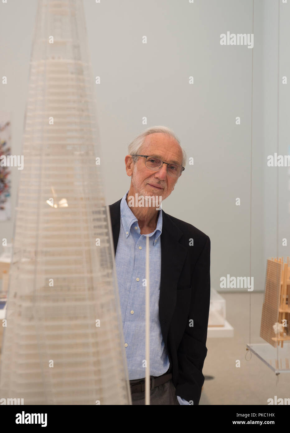 RA, Piccadilly, London, UK. 12 September, 2018. The Art of Making Buildings. The internationally acclaimed Architect Renzo Piano (designer of The Shard) opens an exhibition of his work at the Royal Academy. Centrepiece of the exhibition is a sculptural installation bringing together over 100 of Piano's projects on an imaginary island. The exhibition runs from 15 September 2018 - 20 January 2019. Credit: Malcolm Park/Alamy Live News. - Stock Image