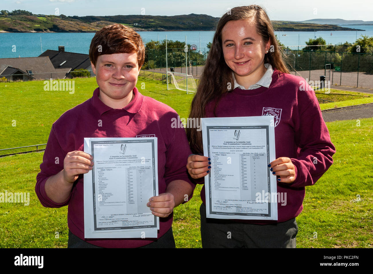 Schull, West Cork, Ireland. 12th Sept, 2018.  Over 62,500 students received their Junior Cert results today. Pictured with their results are Cliona Riordan and Daisy Seaward. Credit: Andy Gibson/Alamy Live News. - Stock Image