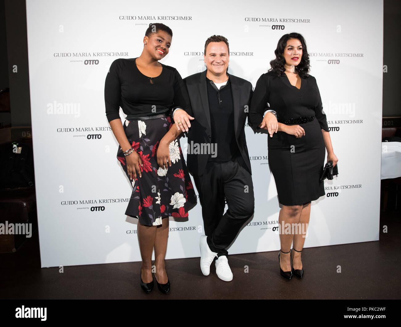 11 September 2018, Hamburg  Designer Guido Maria Kretschmer (M) and two  models 17f3f26d1c