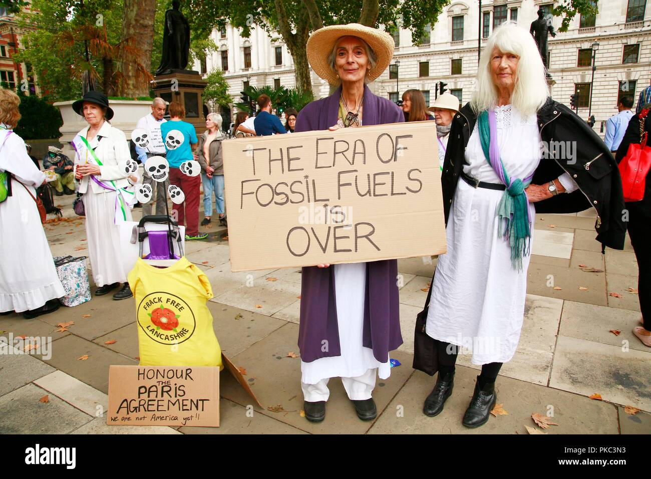 London, UK. 12th Sep 2018. 12/09/2018 100 Women against Fracking, Parliament Square Credit: Natasha Quarmby/Alamy Live News - Stock Image