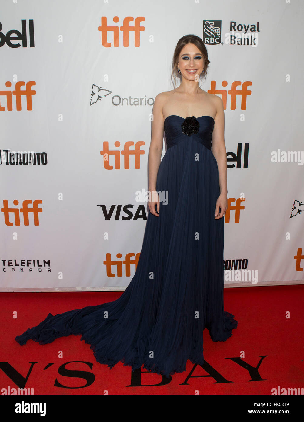 Toronto, Canada. 12th Sep, 2018. Actress Taissa Farmiga poses for photos before the international premiere of the film 'What They Had' at Roy Thomson Hall during the 2018 Toronto International Film Festival in Toronto, Canada, Sept. 12, 2018. Credit: Zou Zheng/Xinhua/Alamy Live News - Stock Image