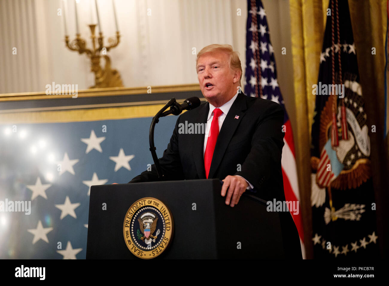 Washington, DC, USA. 12th Sep, 2018. U.S. President Donald Trump speaks during a Congressional Medal of Honor Society Reception at the White House in Washington, DC, the United States, on Sept. 12, 2018. Credit: Ting Shen/Xinhua/Alamy Live News Stock Photo