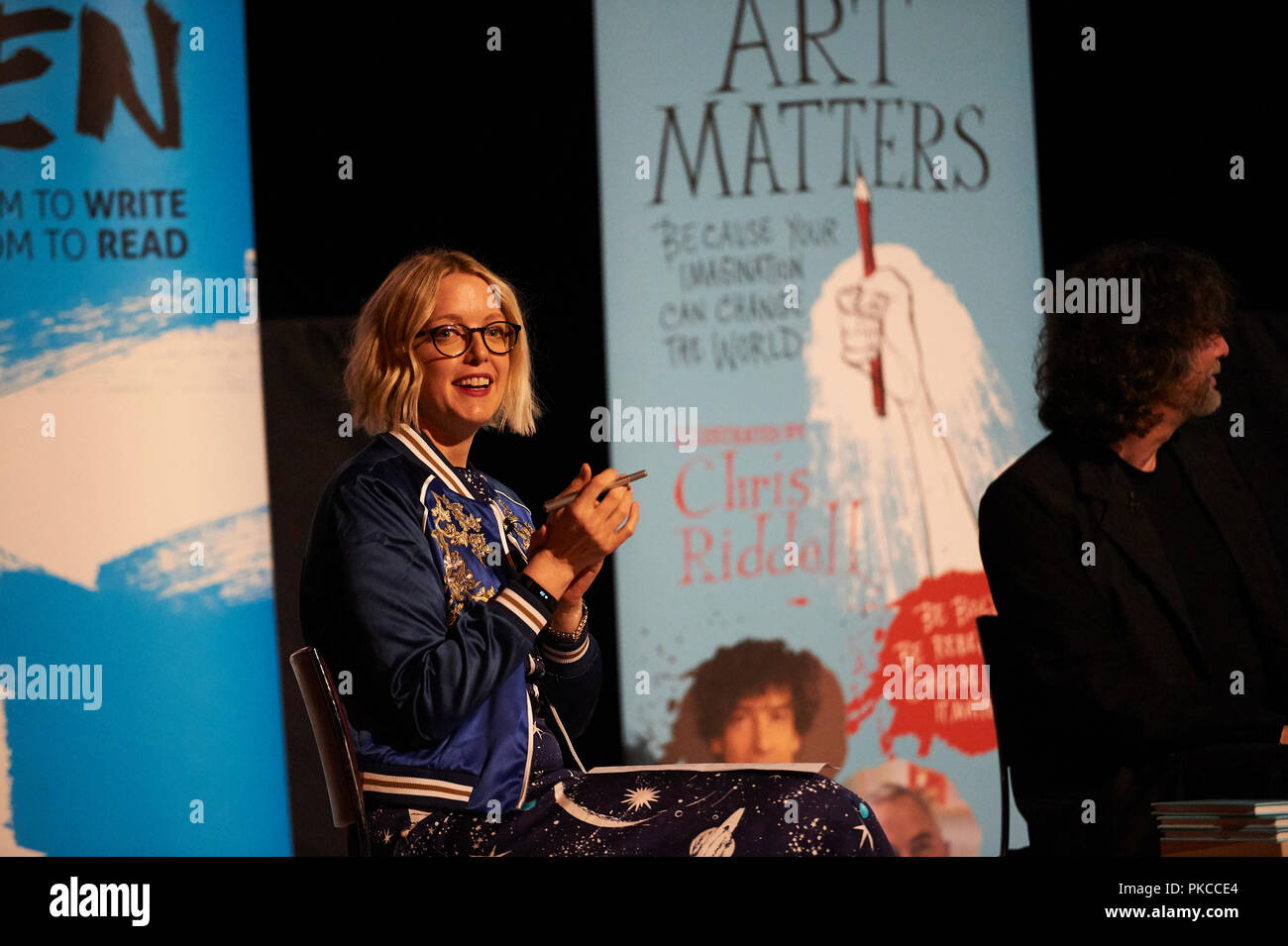 London, UK. 12th Sep 2018. Neil Gaiman and Chris Riddle at the newly opened EartHackney,  Art Matters Live hosted brilliantly by Lauren Laverne,  12th September 2018. London. Credit: Thomas Bowles/Alamy Live News Stock Photo