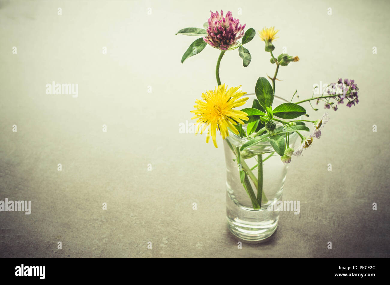 A small bouquet of wildflowers in a glass. Vintage toned image. - Stock Image