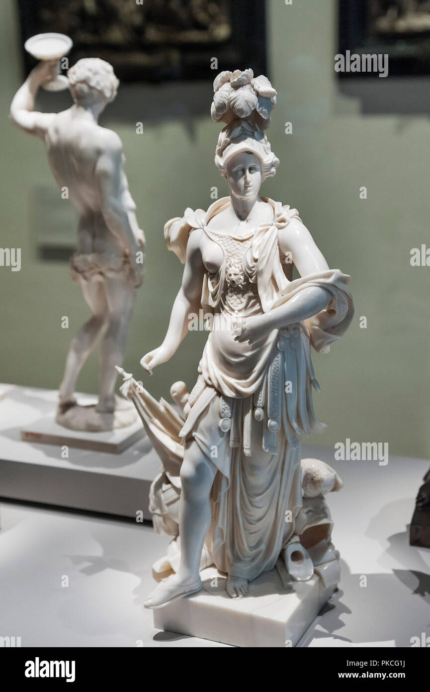 Ivory figure, Anna Maris de'Medici as Minerva, artist Gabriel Grupello around 1700, National Museum, Munich, Upper Bavaria - Stock Image