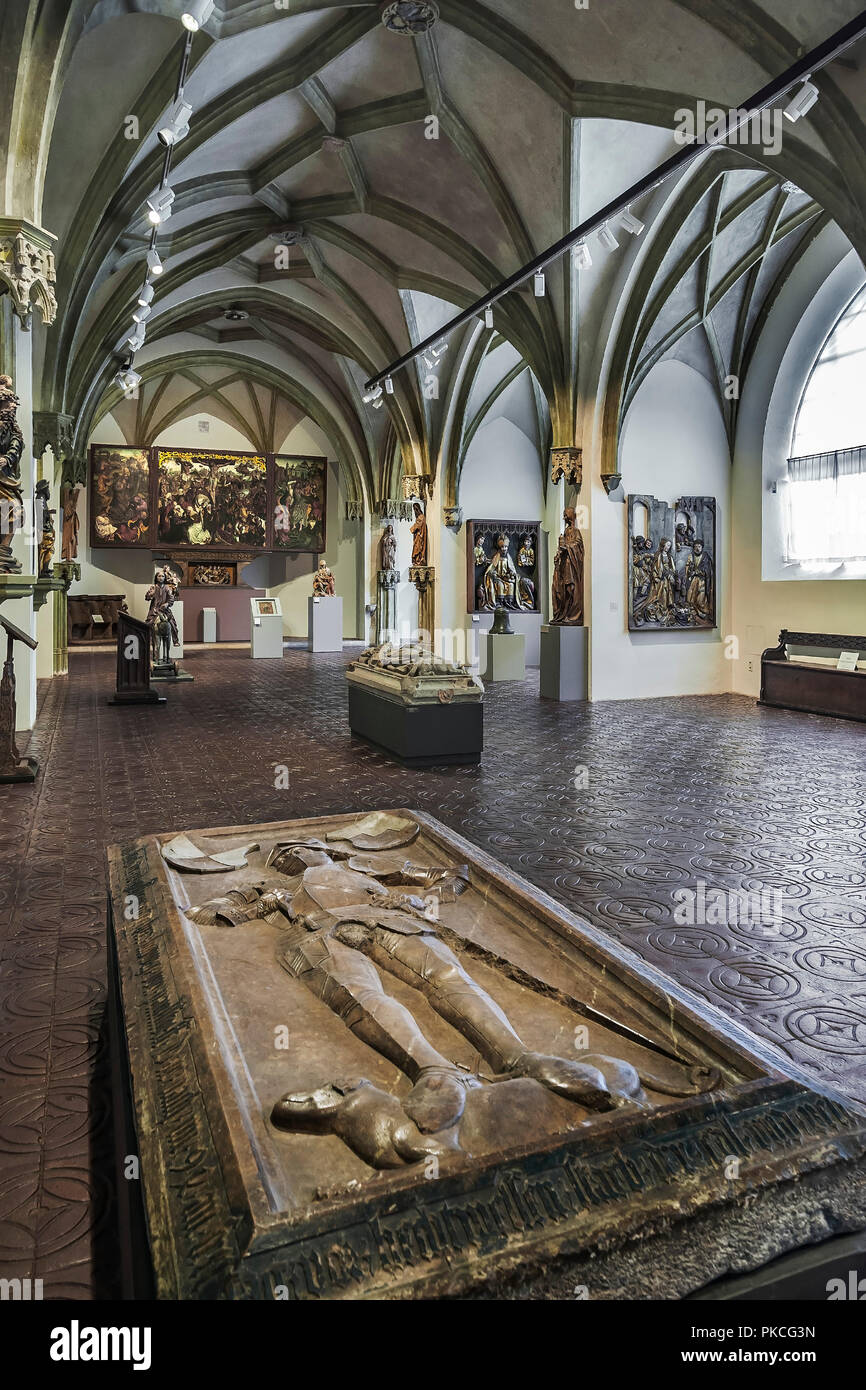 Grave plate of Ludwig and Hans Paulsdorfer in 1500 from the Minoritenkirche Regensburg, in the hall with medieval religious art - Stock Image