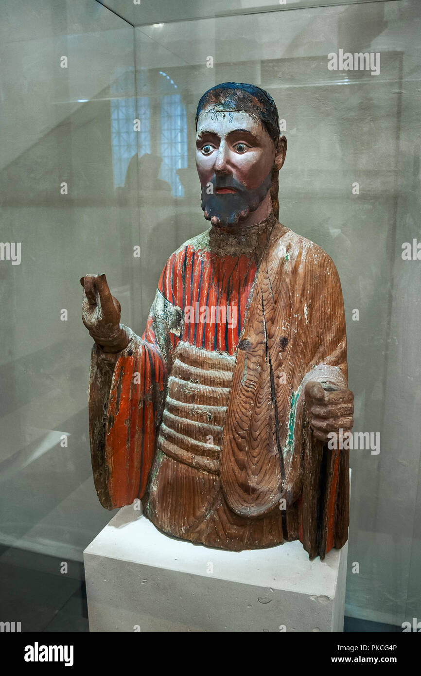 Blessing Christ, alpine, 1200-1230, larch wood, National Museum, Munich, Upper Bavaria, Bavaria, Germany - Stock Image