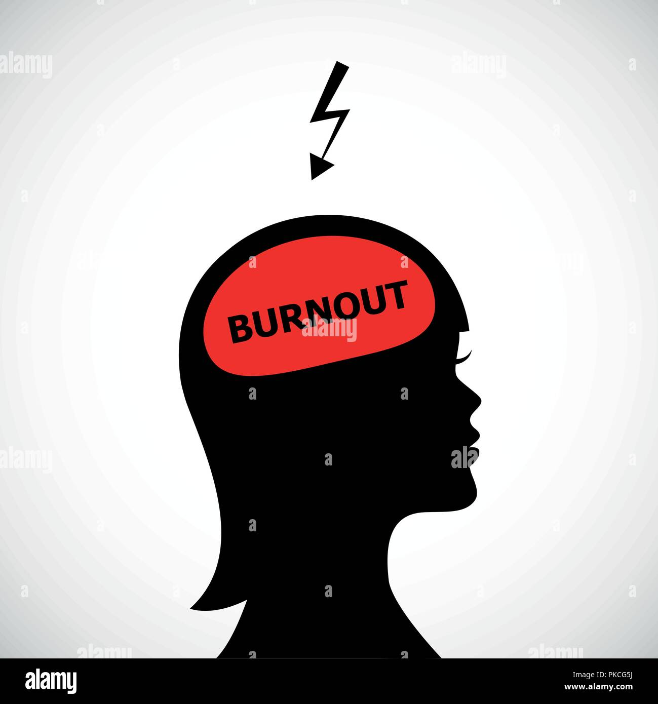 burnout in womans head silhouette concept of stress, headache, depression vector illustration - Stock Vector