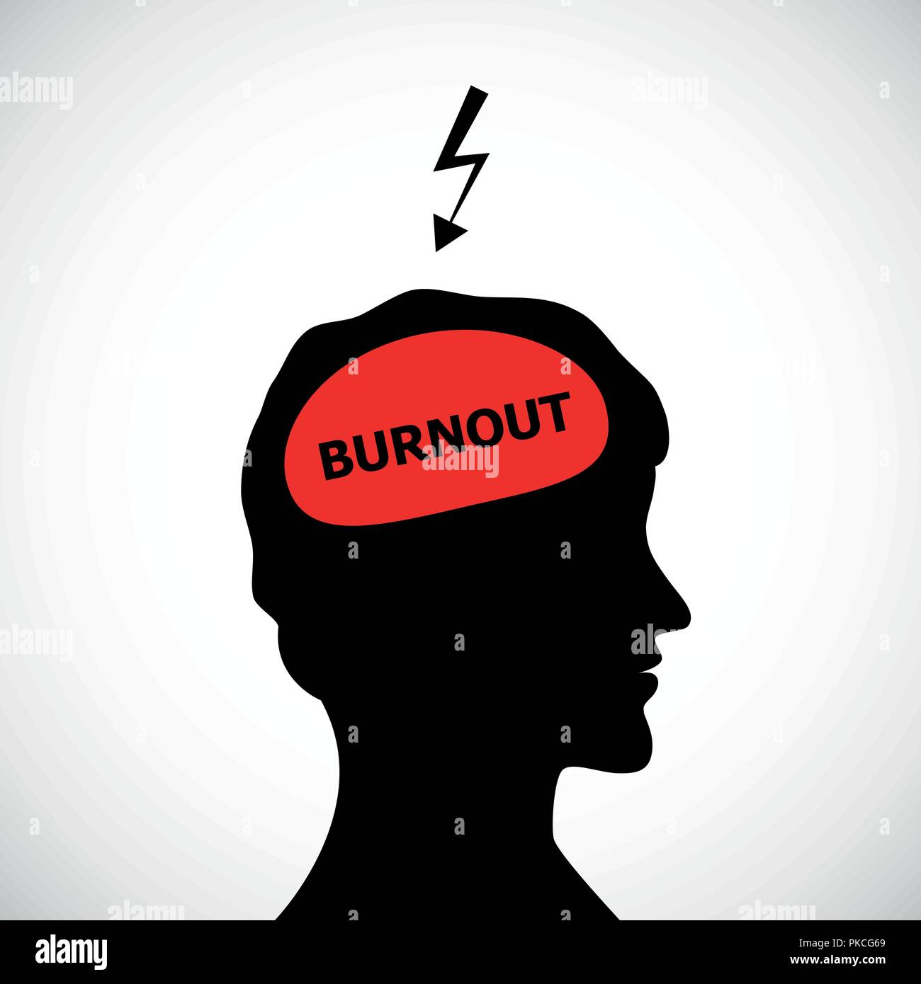 burnout in mans head silhouette concept of stress, headache, depression vector illustration - Stock Vector
