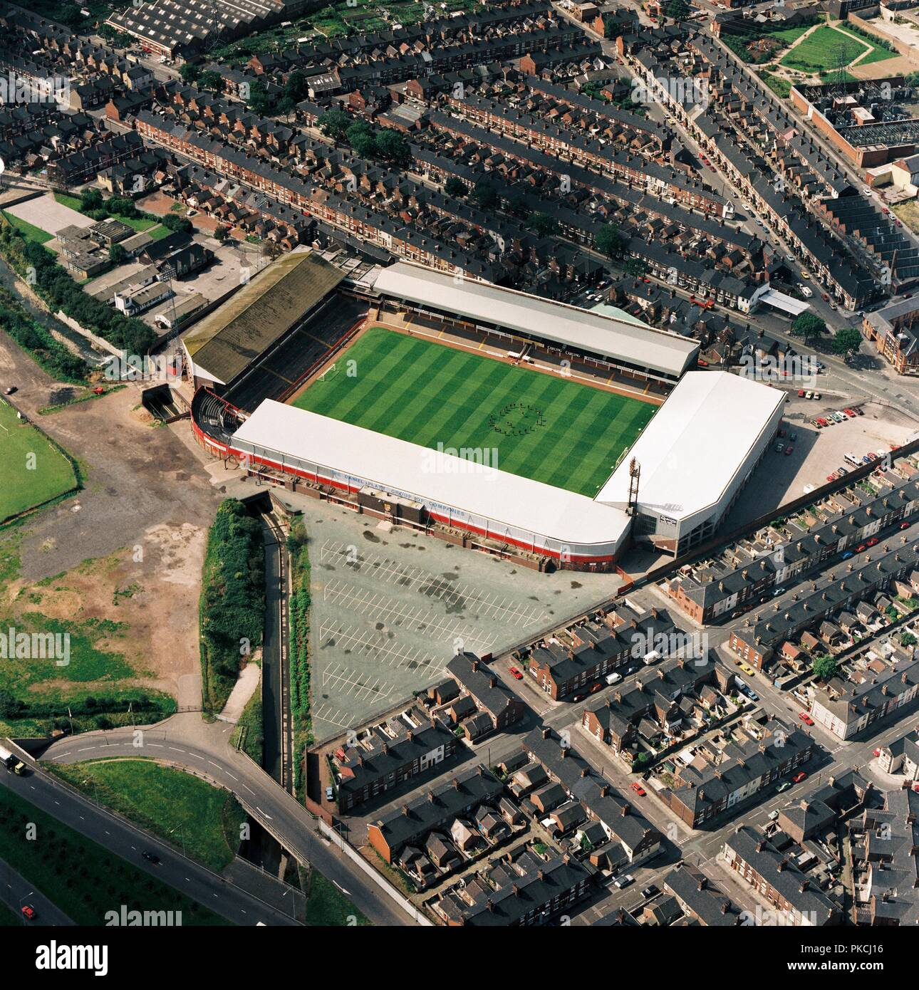 Victoria Ground, Stoke-on-Trent, 1992. Aerial view of the former home of Stoke City Football Club. The club moved to its current home ground, the Britannia Stadium in 1997. Photographed in 1992 when the Potters under Lou Macari went to the league play-offs and won the Football League Trophy. In the next season (1992-1993) they finished as Champions of Division 2 and achieved promotion to the second tier of English football. - Stock Image