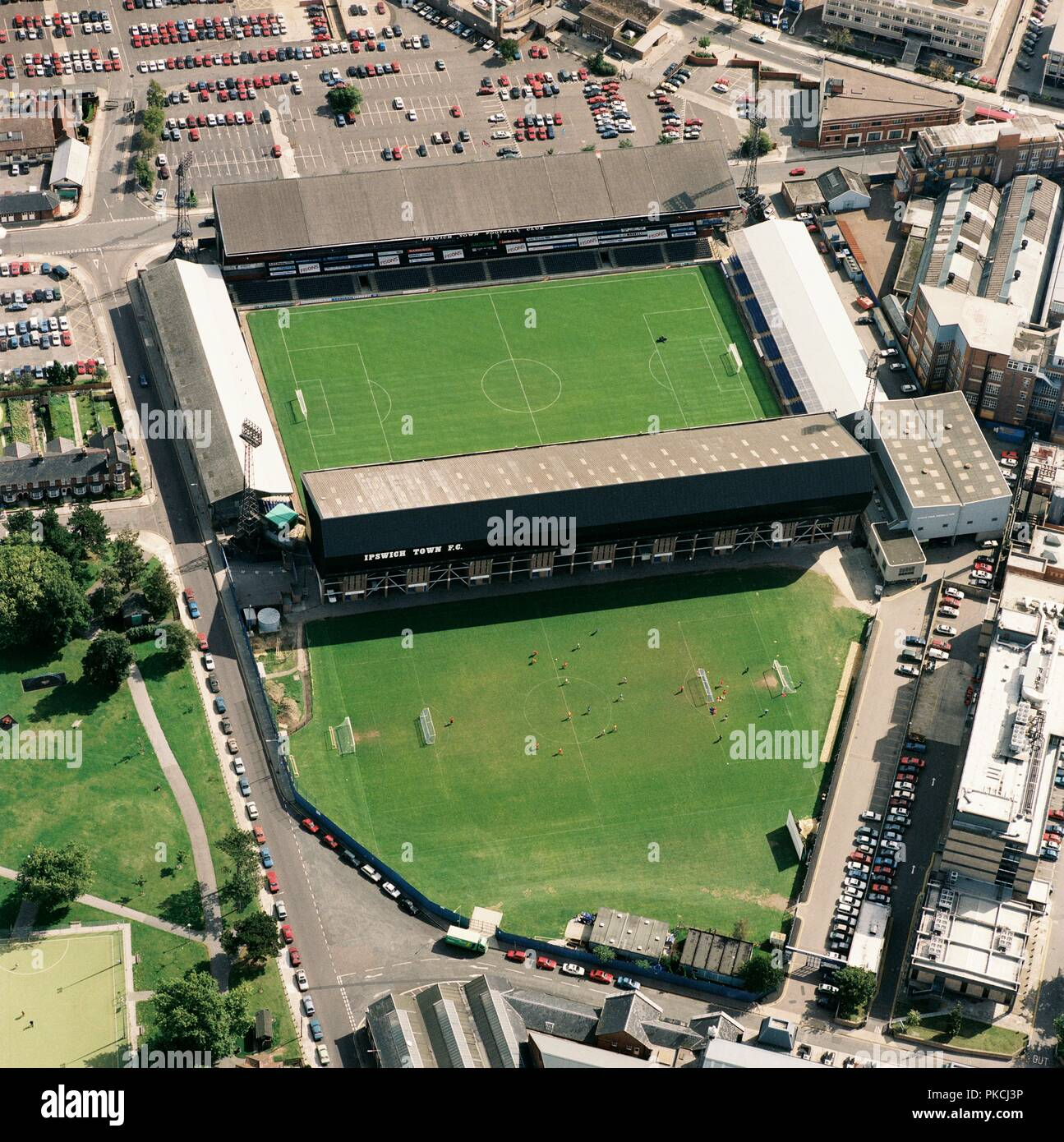 Portman Road, Ipswich, Suffolk, 1992. Aerial view of the home of Ipswich Town Football Club. The Tractor Boys finished the season as divisional champions and started the 1992-1993 season in the newly formed Premier League. - Stock Image