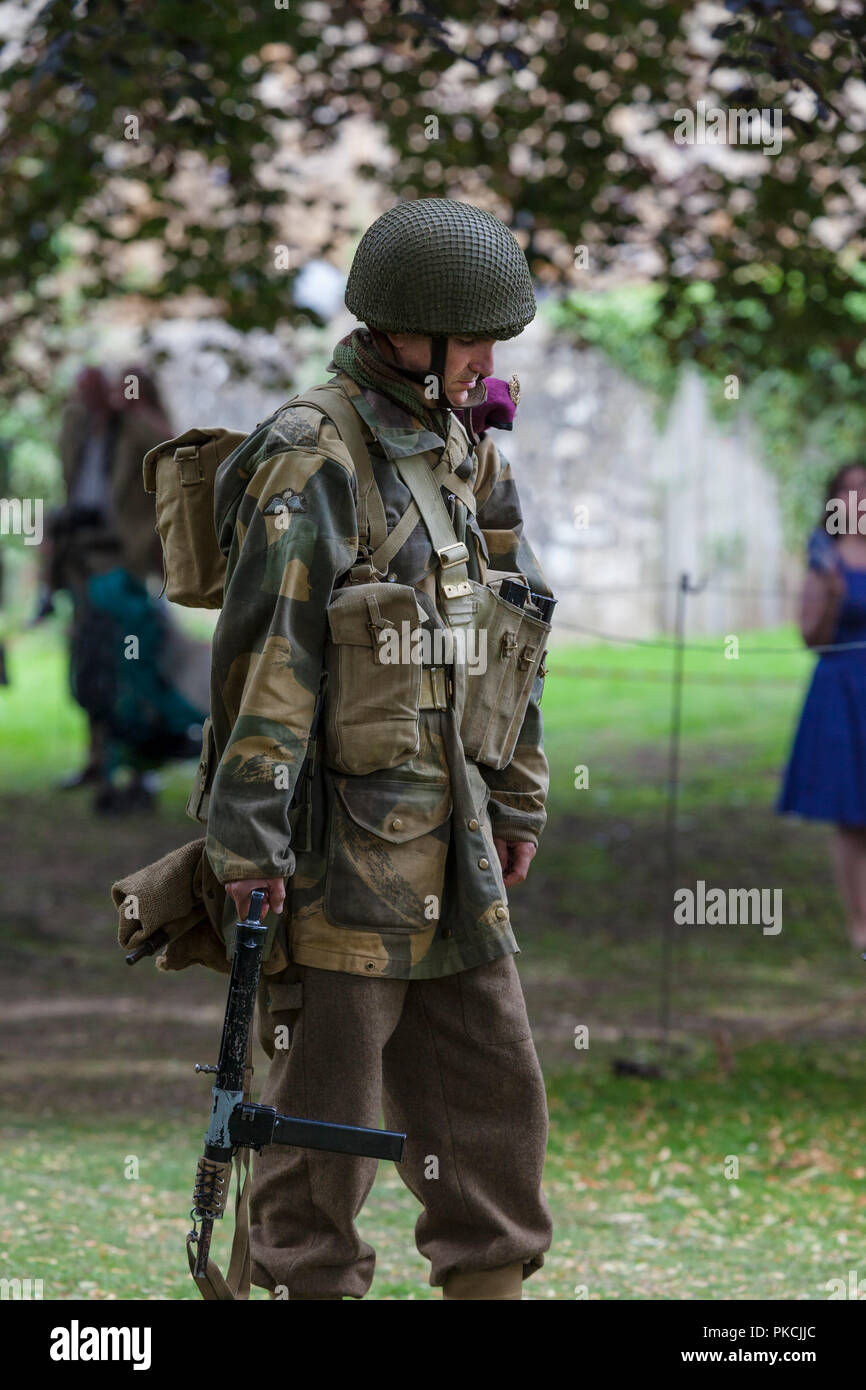 1940's Military Re-Enactor Deep in Thought, Barnard Castle 1940's Weekend, Teesdale, County Durham, UK - Stock Image
