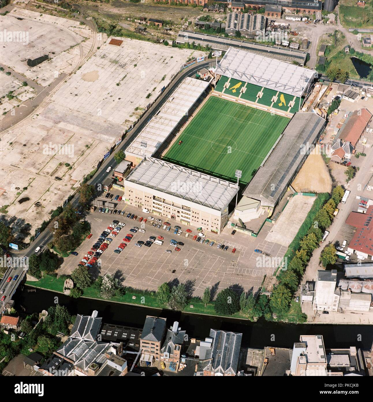 Carrow Road, Norwich, Norfolk, 1992. Aerial view of the home of Norwich City Football Club. Founder members of the Premier League (1992-1993), the Canaries were pushing for the title in its first season, eventually finishing in third place. - Stock Image