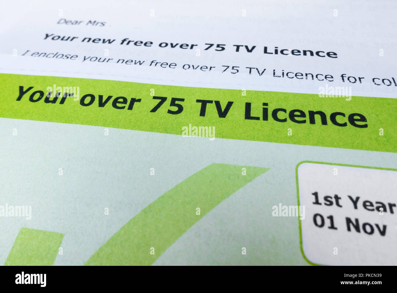 Free TV licence for over 75`s  England  UK Stock Photo
