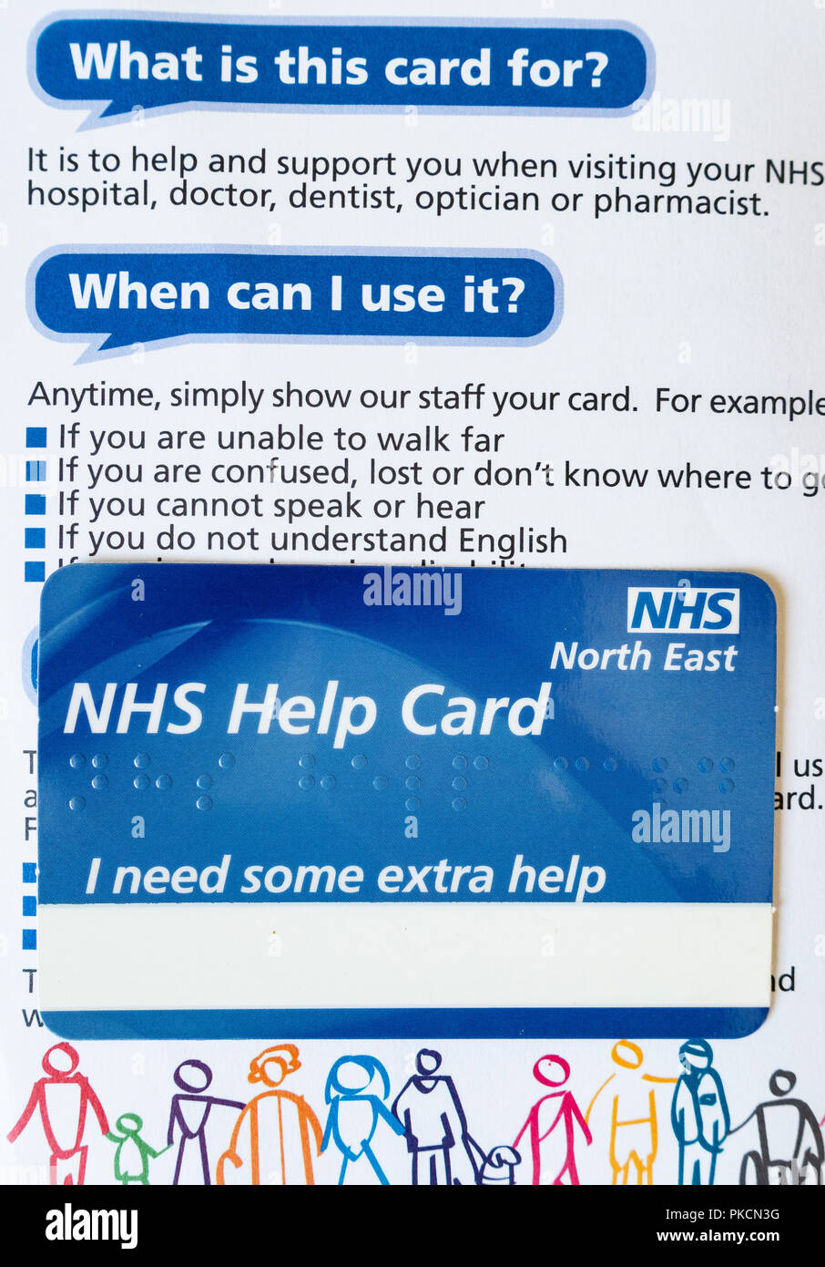 National Health Service help card. UK - Stock Image