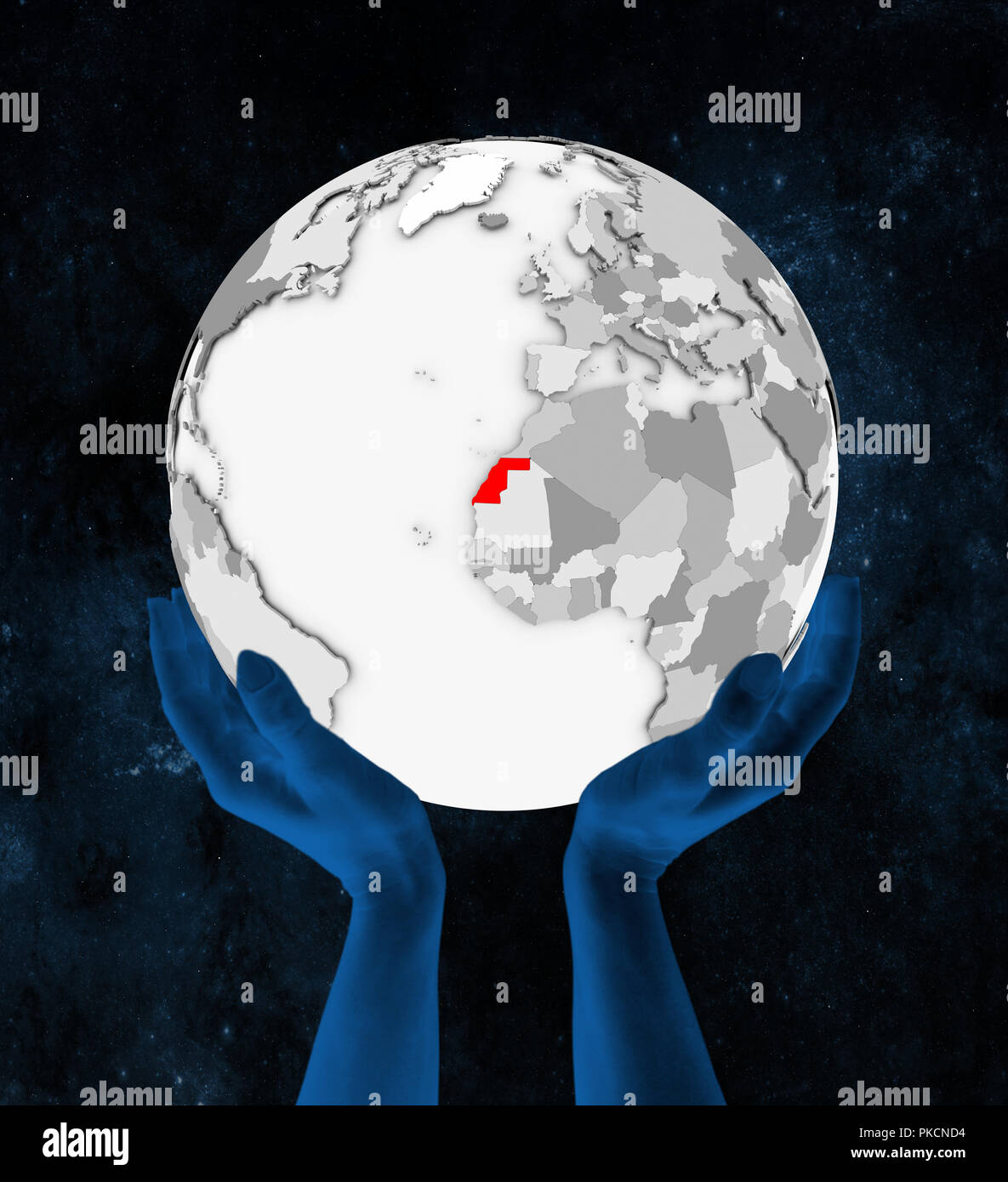 Western Sahara In red on white globe held in hands in space. 3D illustration. - Stock Image