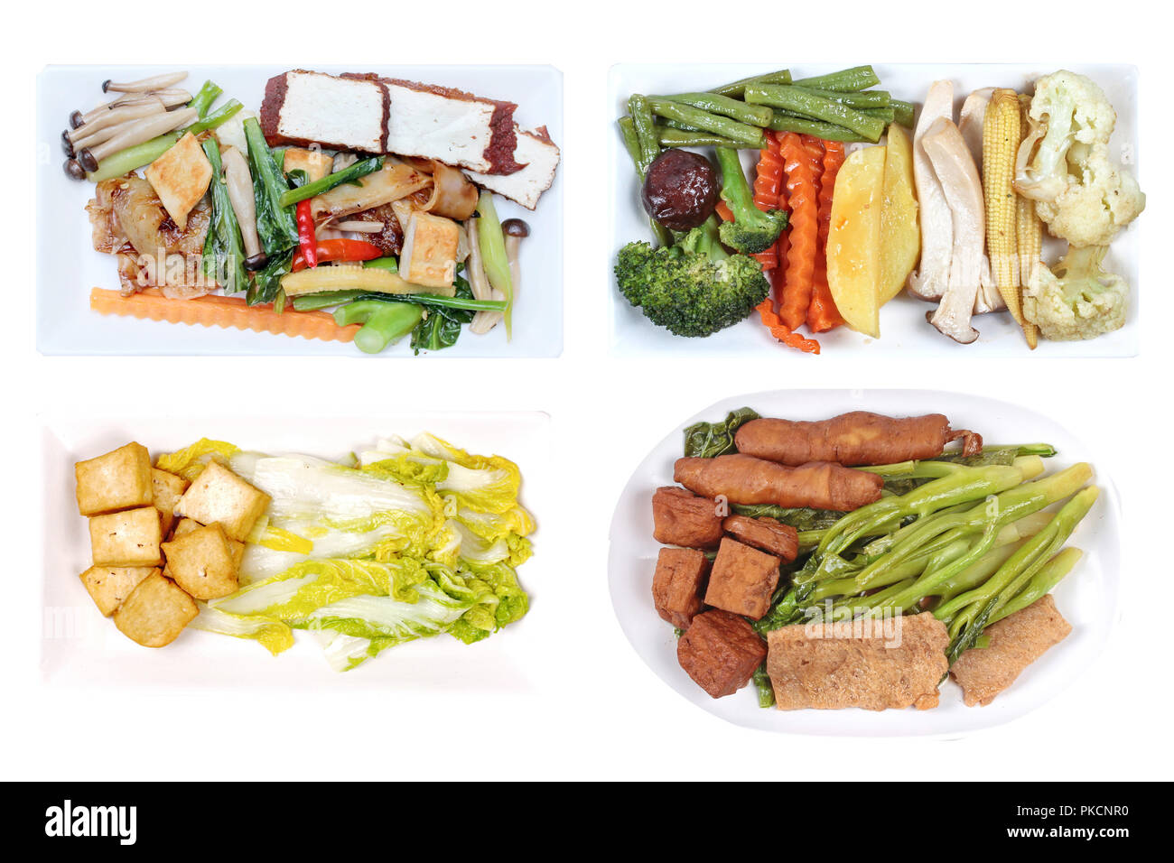 Isolated of Chinese vegetable festival as mixed vegetables with tofu,fried  mixed vegetables,  mixed vegetable with slice tofu and  fried Kale with fe - Stock Image
