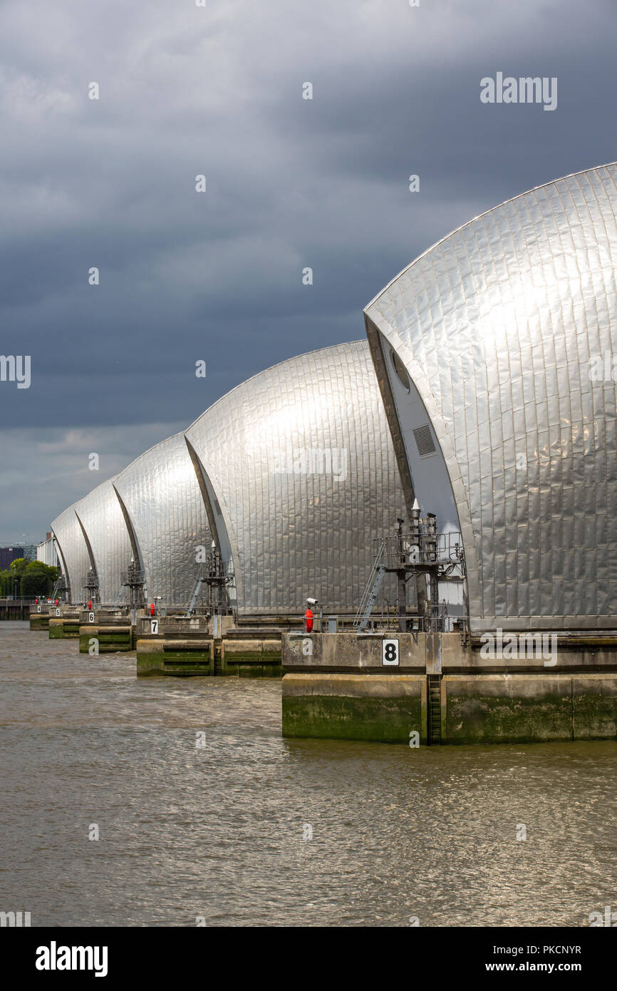 Thames Barrier, movable flood barrier situated on the River Thames in South East London, England, United Kingdom Stock Photo