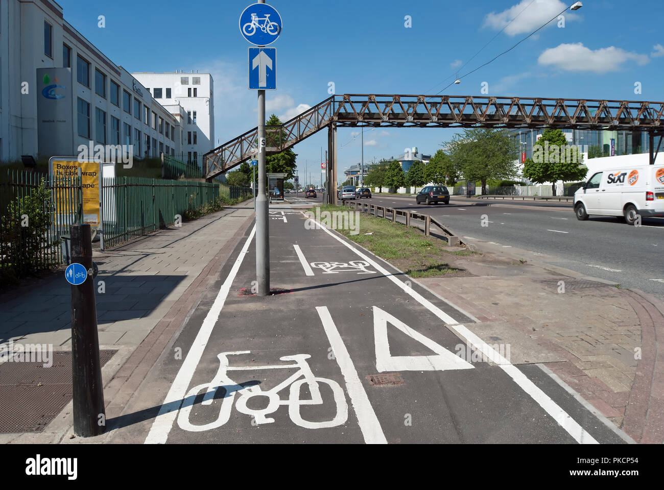 markings for a segregated two-way cycle route on the great west road, brentford, middlesex, england - Stock Image