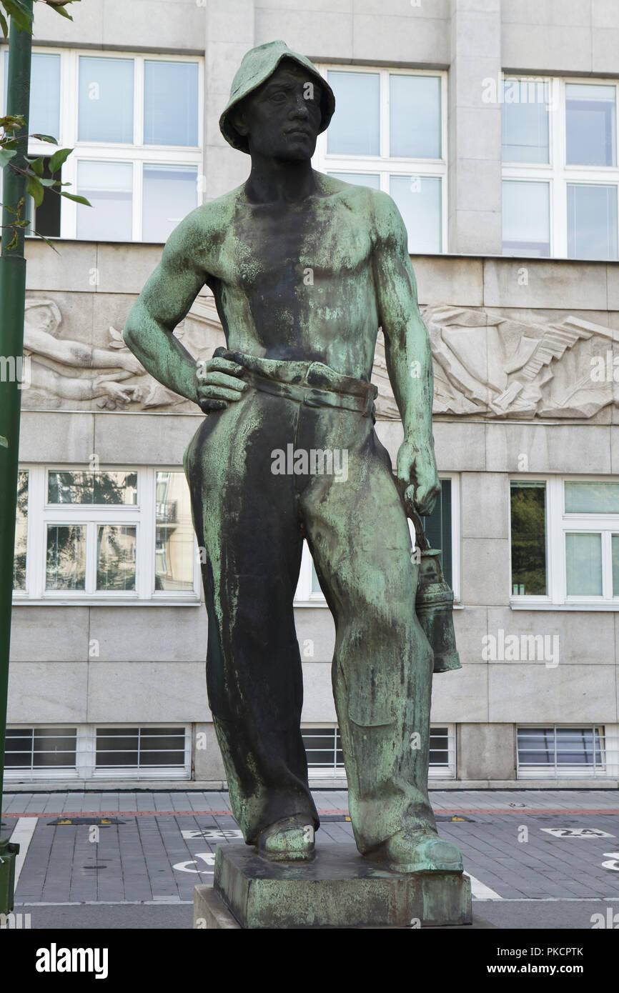 Bronze statue 'Miner' (Horník) by Czech sculptor Antonín Ivanský (1938-1939) in Ostrava, Czech Republic. - Stock Image