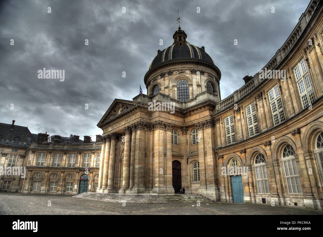 'Institut de France' in Paris (French Academy of Sciences). HDR overcast photo. - Stock Image