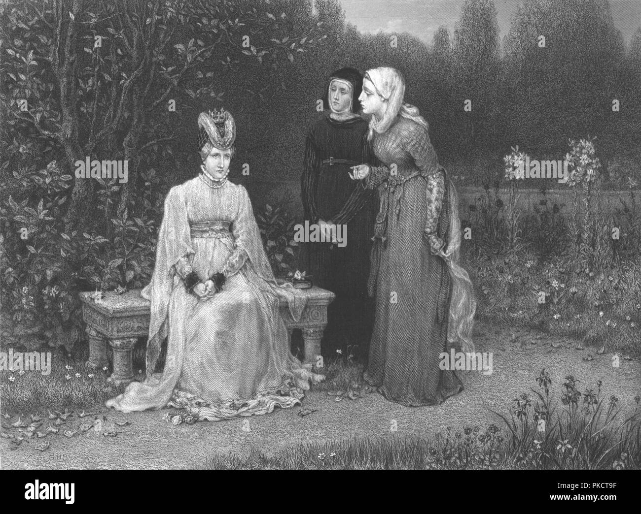 'Queen Isabella and her ladies', c1870. 19th century imagining of a scene from Richard II, play by William Shakespeare, showing Isabella of Valois (1389-1409) queen consort of Richard II, King of England. - Stock Image
