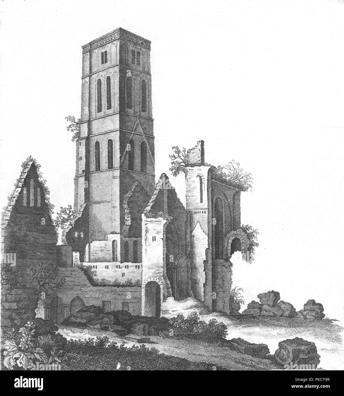 Osney Abbey near Oxford, late 18th-early 19th century. Artist: Unknown. - Stock Image