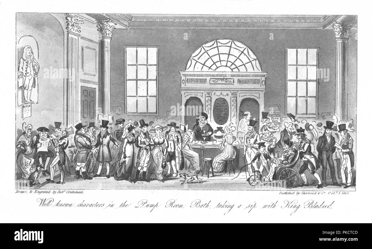 'Well known Characters in the Pump Room, Bath, taking a sip with King Bladud', 1825. Artist: Isaac Robert Cruikshank. - Stock Image