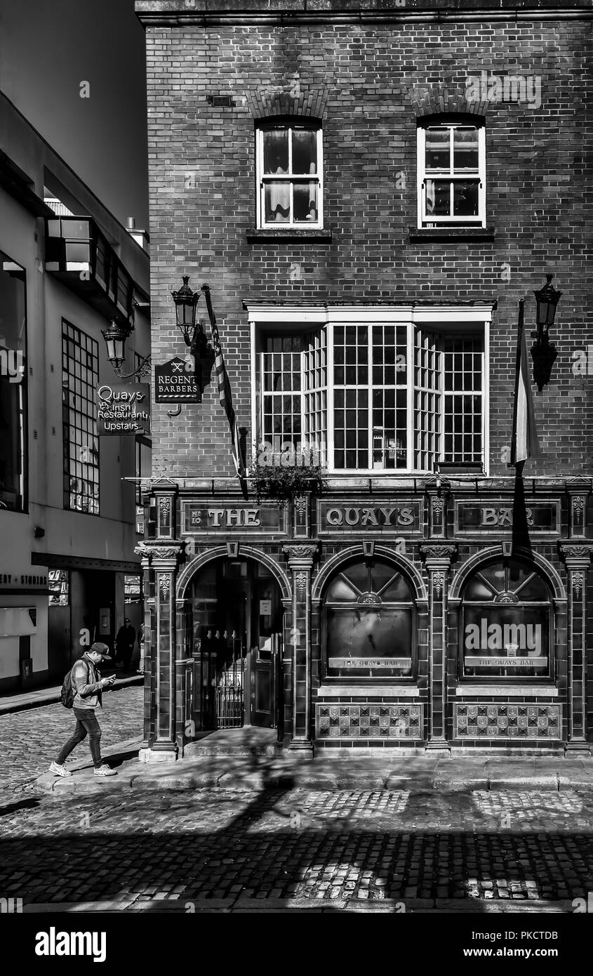 Dublin, Ireland, March 2018, 'The Quays Bar' pub building in Temple Bar district - Stock Image