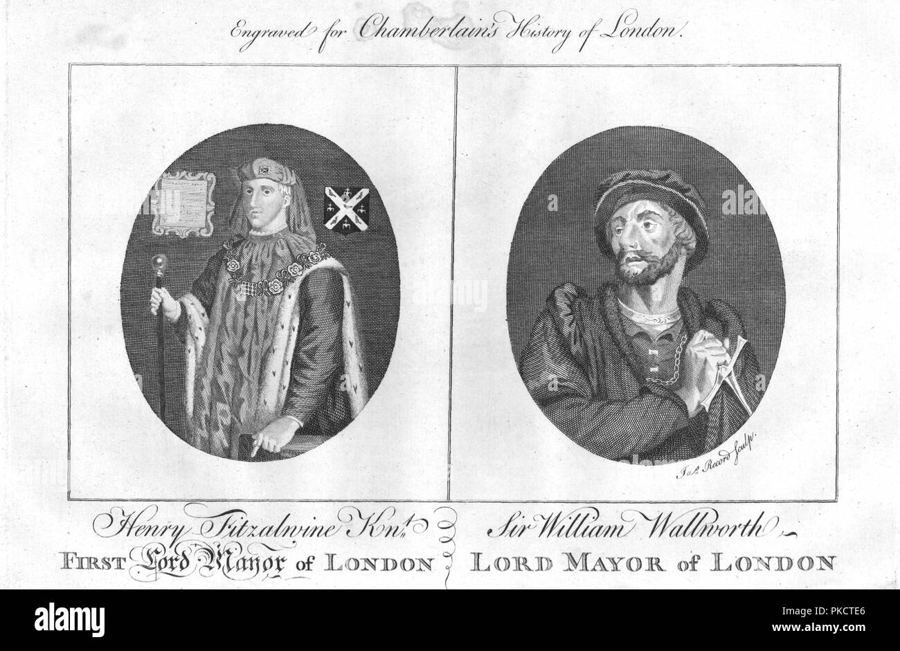 Lord Mayors of London, (c1784). Henry fitz Ailwin de Londonstane (c1135-1212) served as the first Mayor of the City of London. Sir William Walworth (died 1385), was twice Lord Mayor of London, and is best known for killing Wat Tyler. From Chamberlain's History of London. - Stock Image