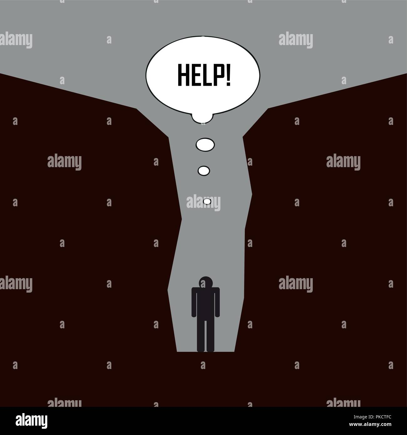 sad man standing alone inside a canyon need help pictogram vector illustration EPS10 - Stock Vector