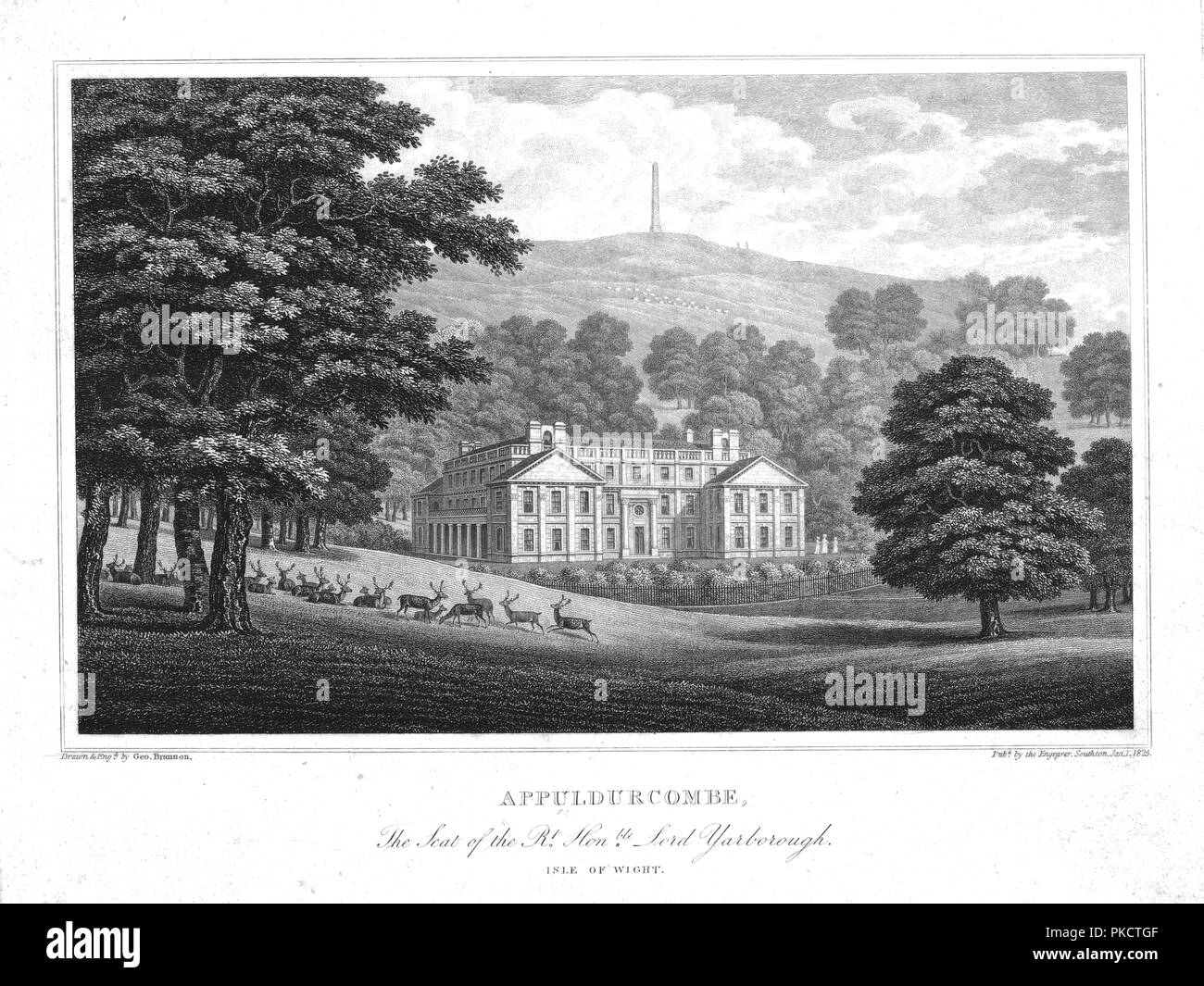 'Appuldurcombe, The Seat of the Rt. Hon.ble Lord Yarborough. Isle of Wight.', c1825. View of Appuldurcombe House, an 18th century Baroque house designed by John James and built on the site of an earlier Tudor house for Sir Robert Worsley, 4th Baronet. In the 1770s the house was extended by Sir Richard Worsley, 7th Baronet, and Capability Brown was commissioned to lay out the gardens. - Stock Image