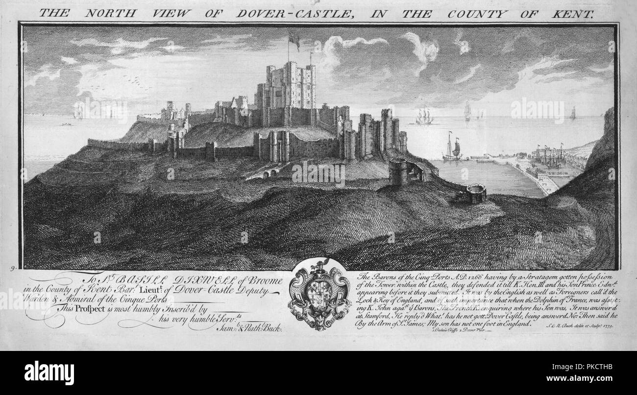 'The North View of Dover-Castle, in the County of Kent.', c1735. Artists: Samuel Buck, Nathaniel Buck. Stock Photo