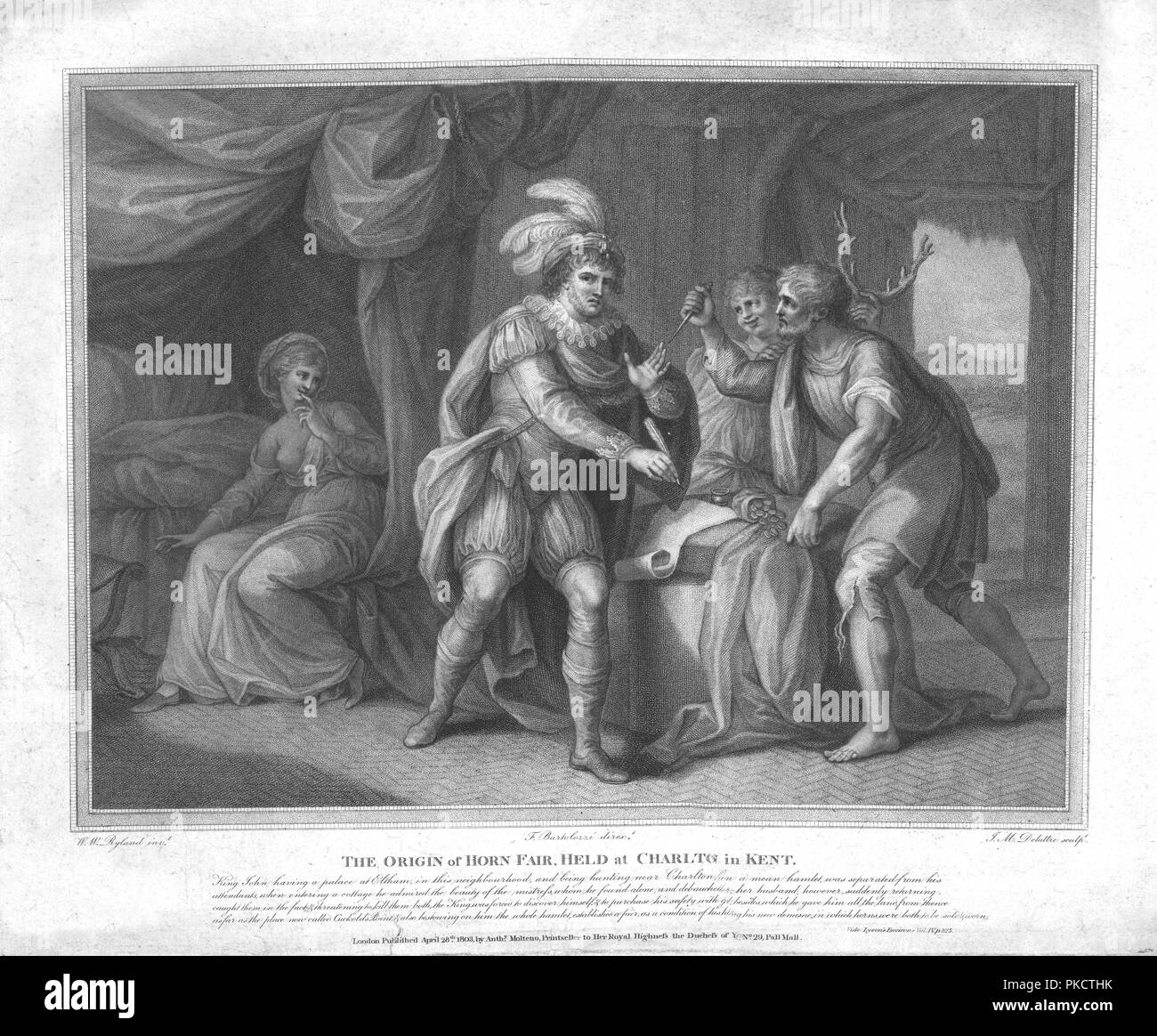 'The Origin of Horn Fair, Held at Charlton in Kent', (c1803). Late 18th century depiction of a supposed incident involving King John of England, (1166-1216) who has been caught having committed adultery with the wife of a miller (brandishing knife on right), while a boy holds up a pair of antlers behind his head. (The symbol associated with cuckolding was a pair of horns). In the story, the King buys his life by drawing up a deed for a gift of land, on condition that a fair is held there every year, at which horns are to be worn. - Stock Image