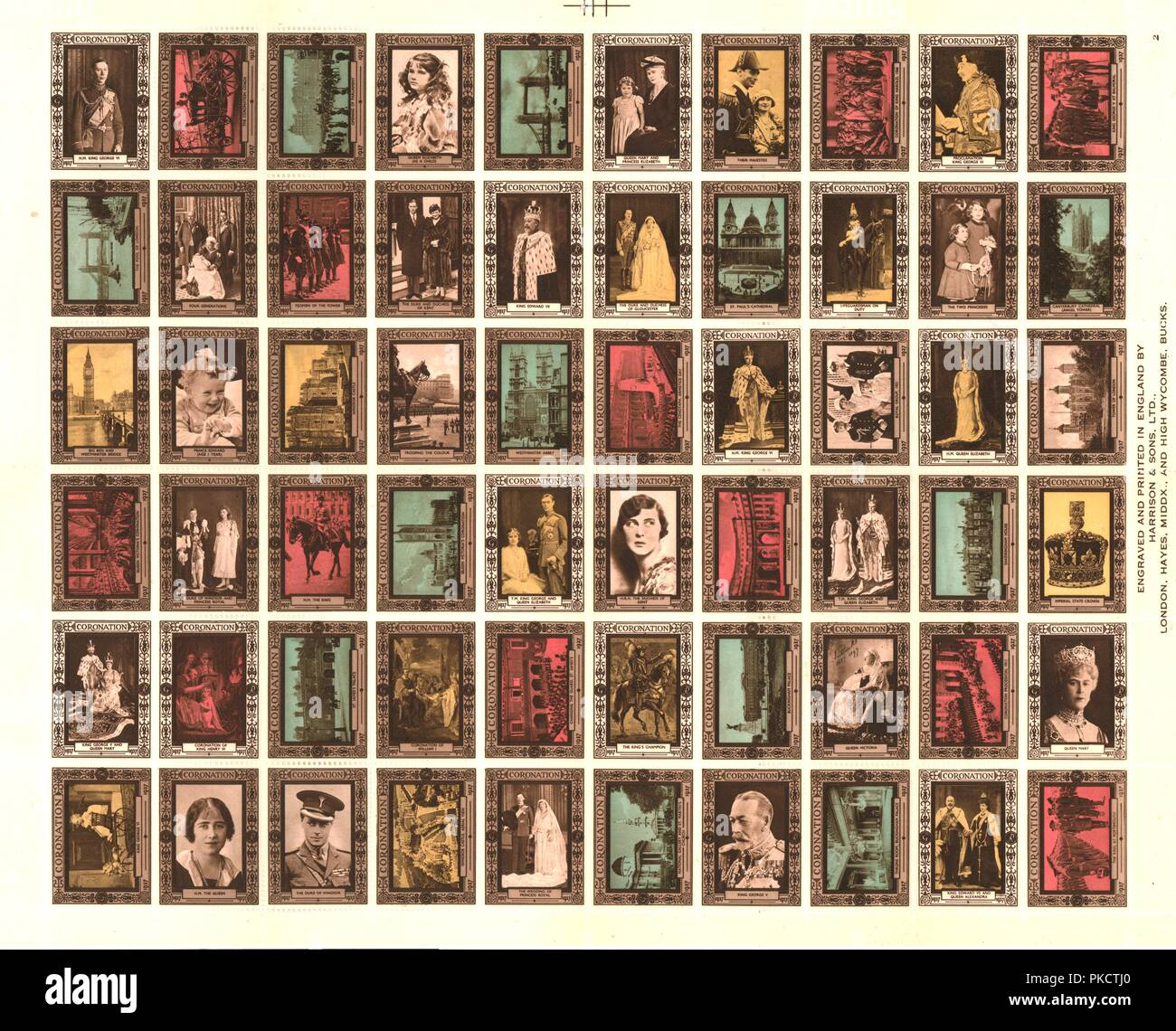 Sheet of 60 Cinderella stamps commemorating King George VI's coronation, 1937. Artist: Unknown. Stock Photo