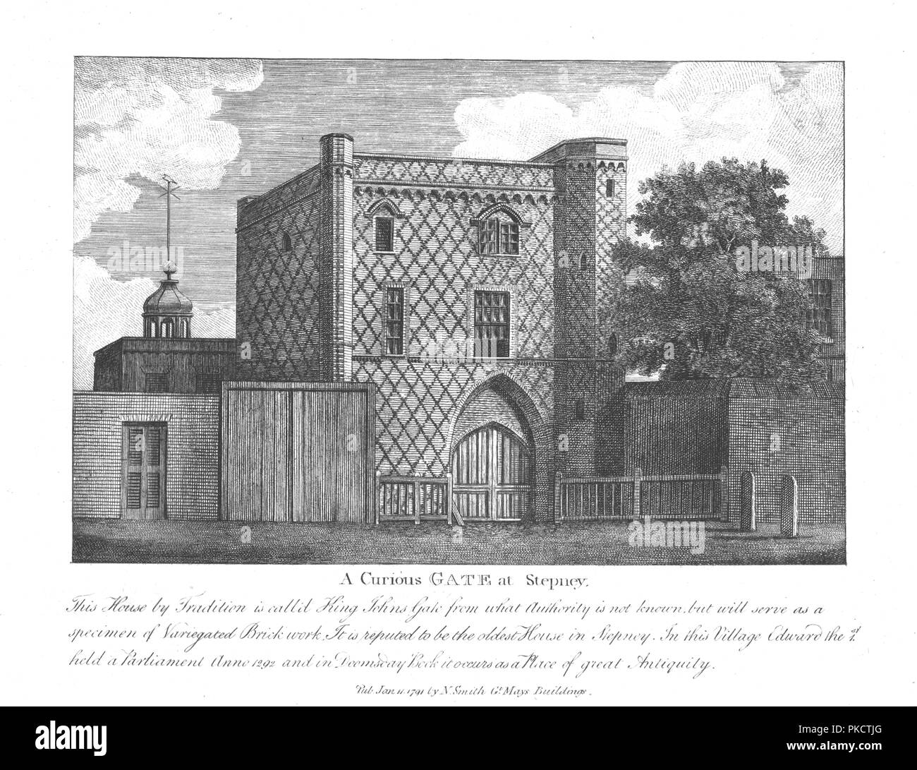 'A Curious Gate at Stepney', 1791. 'This House by Tradition is call'd King Johns Gate from what Authority is not known, but will serve as a specimen of Variegated Brick work. It is reputed to be the oldest House in Stepney. In this Village Edward the I held a Parliament Anno 1292 and in Doomsday Book it occurs as a Place of great Antiquity.' Brick building in Stepney, London, also known as St John's Gate. - Stock Image
