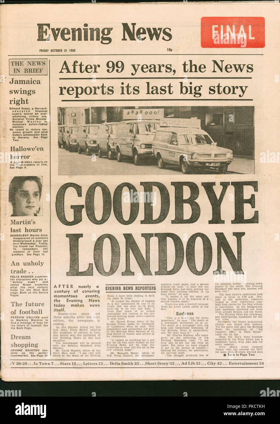 Final edition of the Evening News newspaper, 1980  Artist